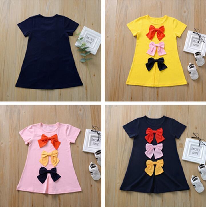 Vêtements enfants filles robe d'été à manches courtes longues T-shirt Enfants T-shirts Jupe Bowknot Cute Girl Princess Dress CZ409