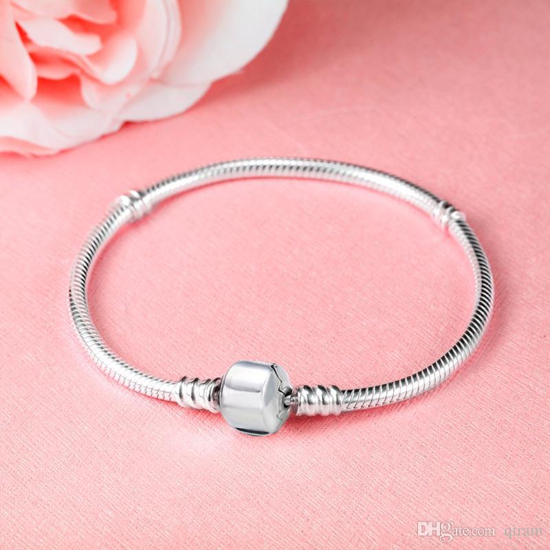 2019 DIY Beads Pandora 925 Sterling Silver Heart Pave CZ Bracelet for pandora Chain with Bracelets With Letter Stamp DIY bracelets gift
