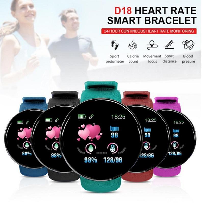Presión inteligente reloj D18 Hombres Mujeres Ronda de sangre inteligente muñequera del deporte impermeable reloj inteligente rastreador de ejercicios para el teléfono Android IOS