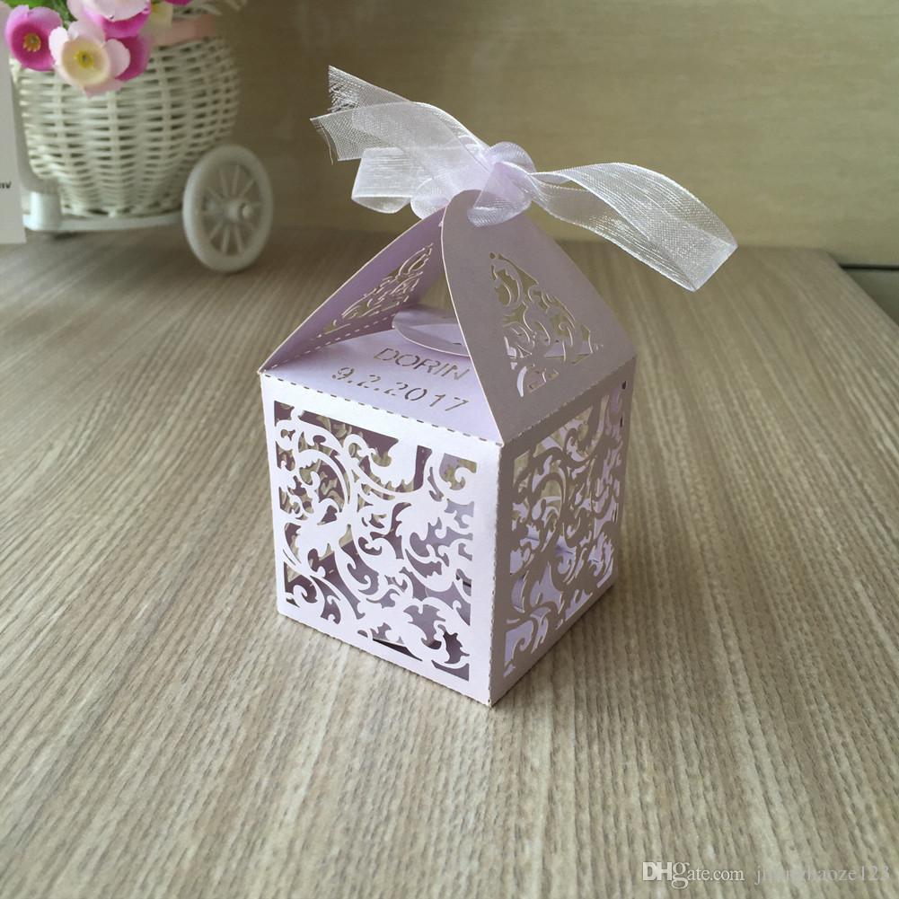 Lüks açık mor su dalgalanma kale Lazer Kesim Şeker Çikolata Hediye Kutuları Kurdele ile Gelin Doğum Günü kutusu ülke düğün hediyelik eşya
