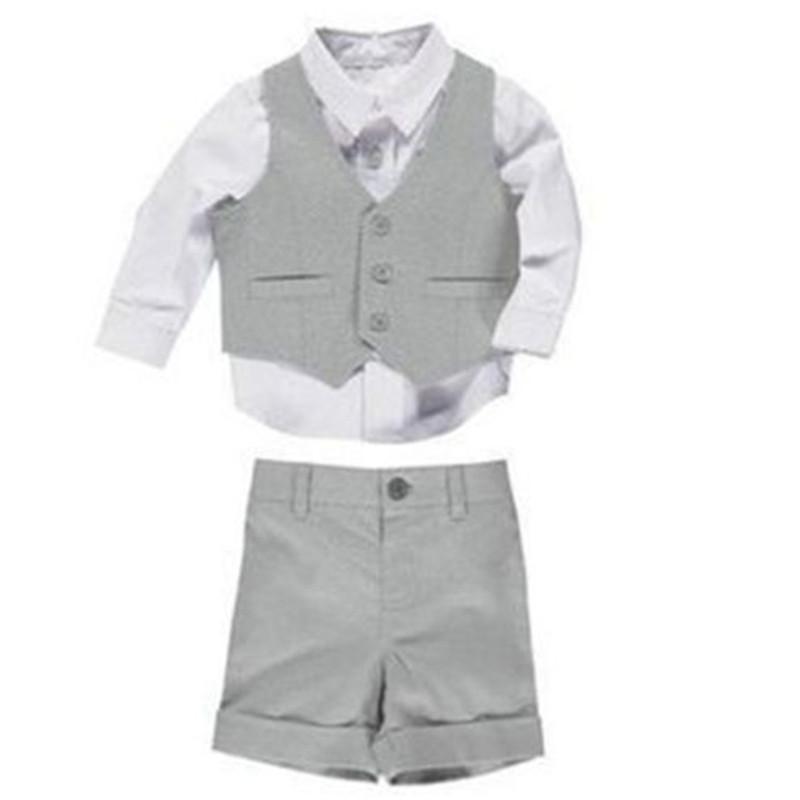 Yaz Boys Gri Çocuk Damat Düğün Suits Page Boy Bebek Örgün Parti Suit Takımları