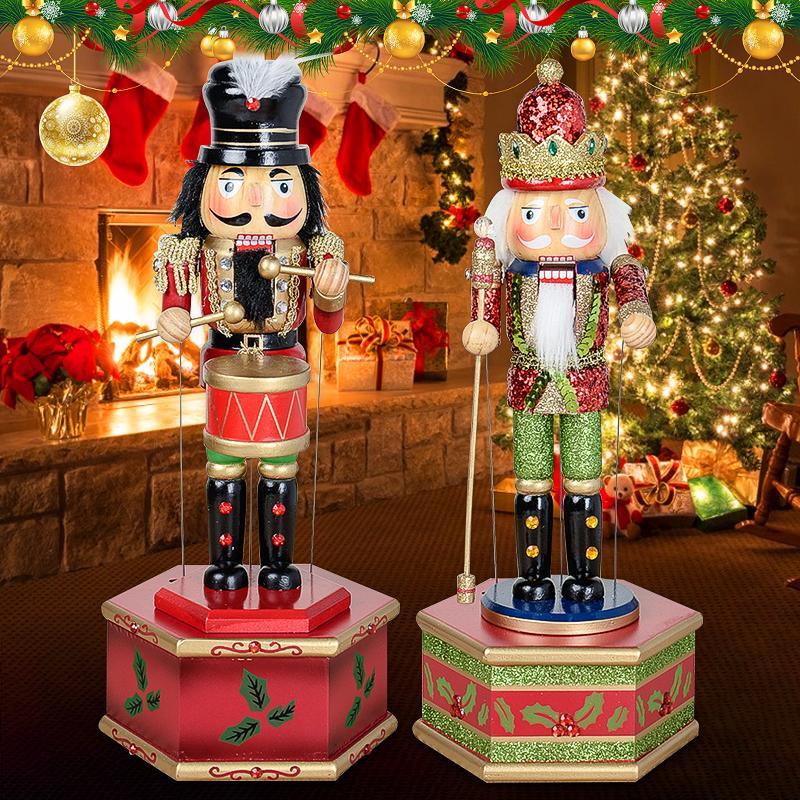 32CM Bois Casse-Noisette Musique classique Coffret cadeau Doll Peinture à la main Grande Décoration Pour les particuliers de Noël