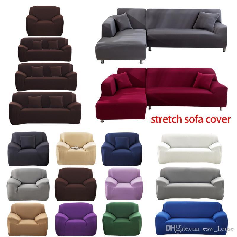 1/2/3/4 plazas sofá cubierta poliéster Color sólido antideslizante sofá cubierta estiramiento muebles Protector sala de estar sofá funda