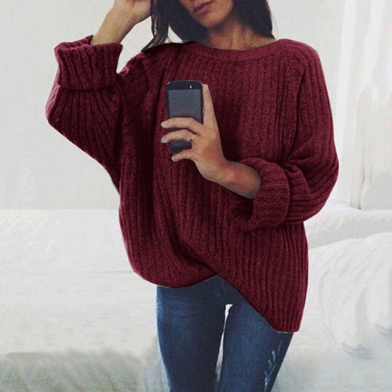 Mulheres O Sólidos Neck camisola feita malha 2020 Outono Inverno Moda Feminina Pullover Camisolas Senhoras solto Knitwear Dropship