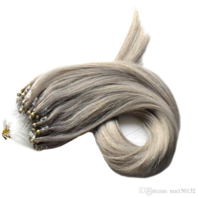 Micro Anel de Loop Anel Extensões de Cabelo Humano Micro Anel de cabelo cinza 100g / pacote Remy Pre Ligado Extensão Do Cabelo