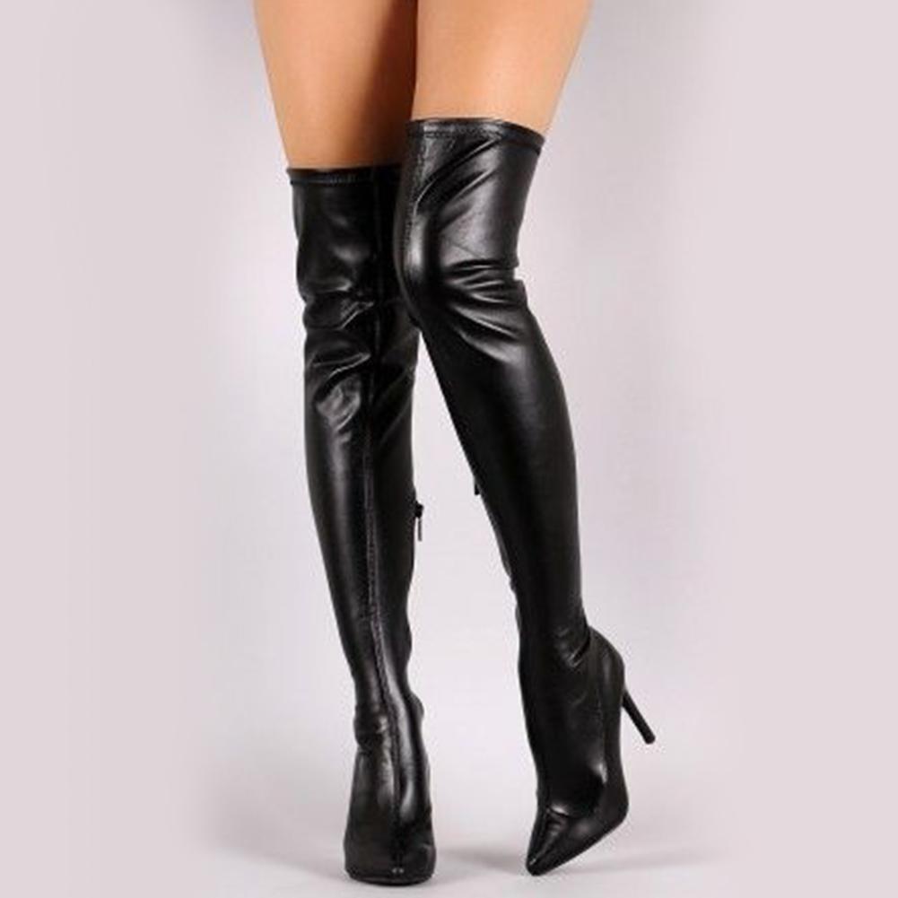 DoraTasia 2018 Plus Size 33-48 Marque Thin High Heels Botte d'hiver dessus du genou Bottes Party Chaussures Femme Bottes Femme