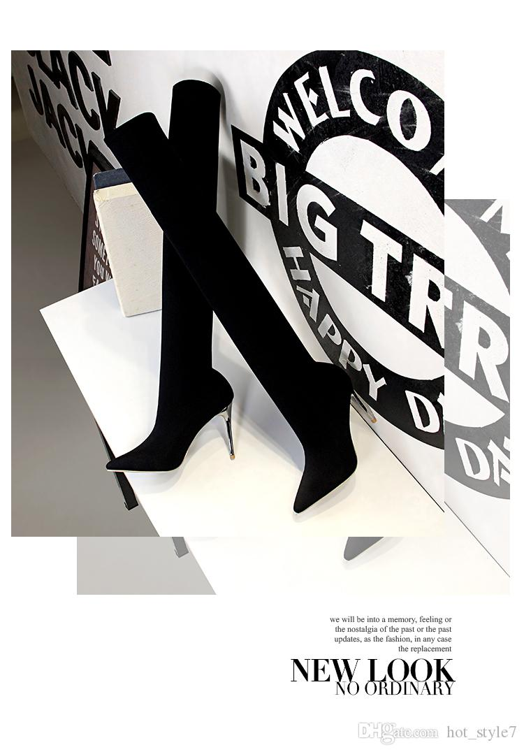 패션 단순한 여자 지적 발가락 무릎 부츠를 통해 부츠 슬림 나이트 클럽 스틸레토 힐 섹시한 무릎 부츠 금속 장식 슬립 신발에
