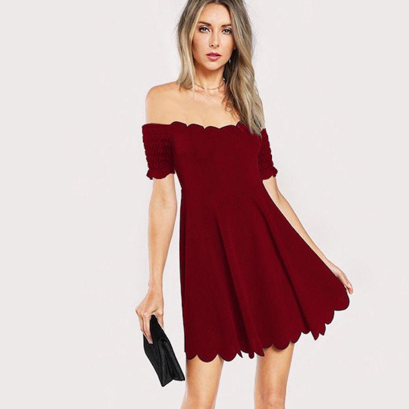 Elbiseler Basit Bir Çizgi dantel Yan Zarif Yaz Kadın Omuz Seksi Kadınlar Kokteyl Elbise Kapalı 2019 Kısa vestidos