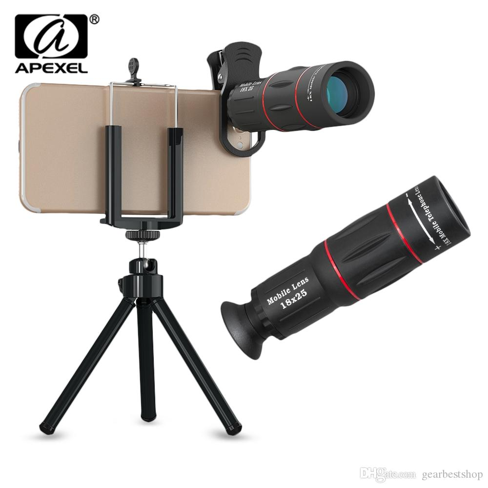 APEXEL APL-T18ZJ 18X Zoom Óptico Teleobjectiva Telescope Camera Lens com suporte do telefone Clip Tripé