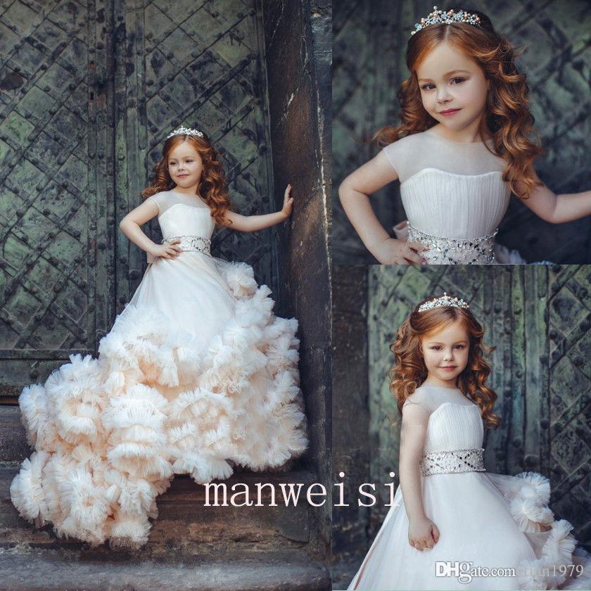 Prenses Ucuz Güzel Sevimli Tül Aplike Çiçek Kız Elbise Kızı Toddler Uzun Kollu Güzel Çocuklar İlk Komünyon Elbise