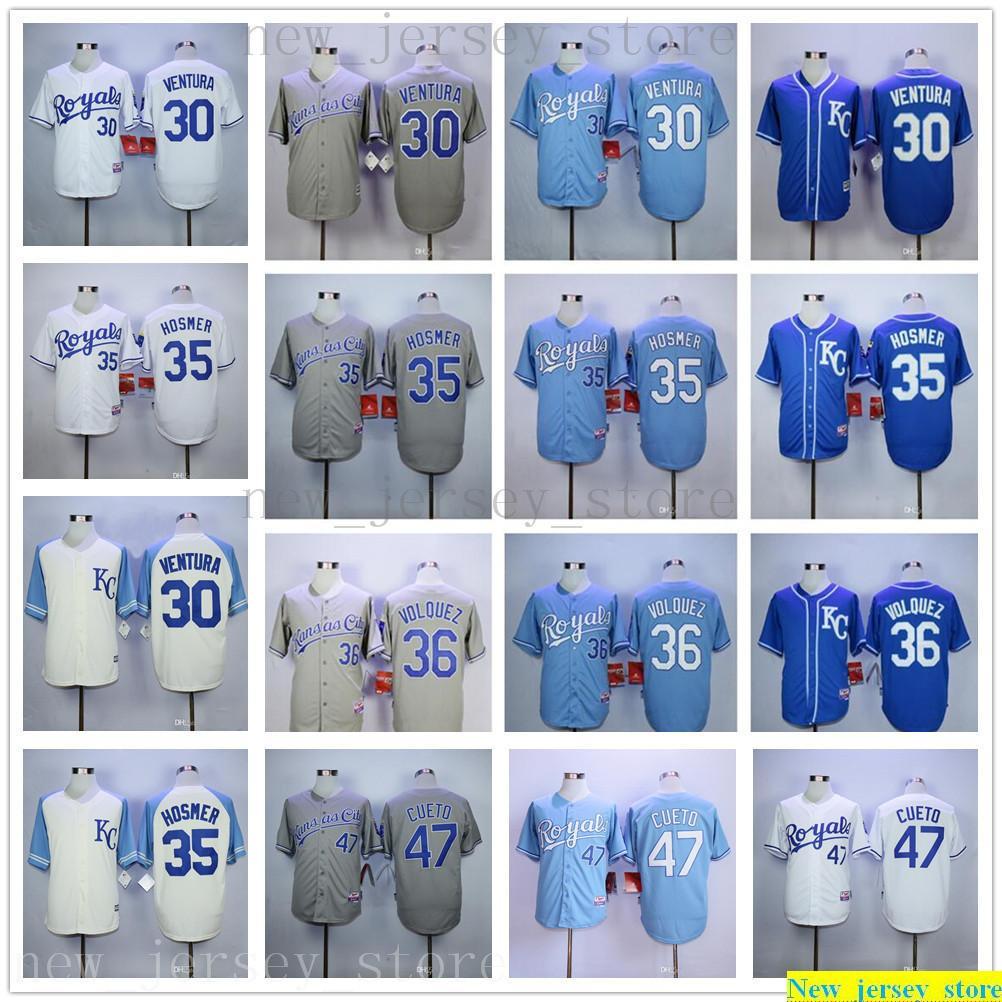 Hombres Mujeres Juveniles Béisbol 30 Yordano Ventura Jerseys Stitched Kids 35 Eric Hosmer 36 Edinson Volquez 47 Johnny Cueto Jerseys Blue Gray Blanco