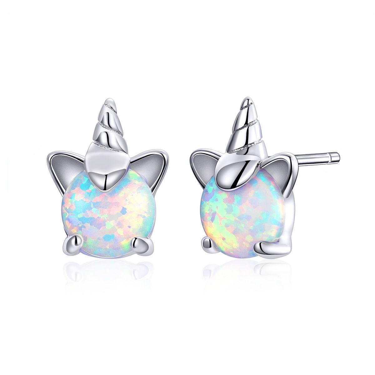 HQ 925 Sterling Silver White Opal bonito Licorne brincos de Moda Mulheres Belas Zircon jóias presente de aniversário do acoplamento do casamento menina