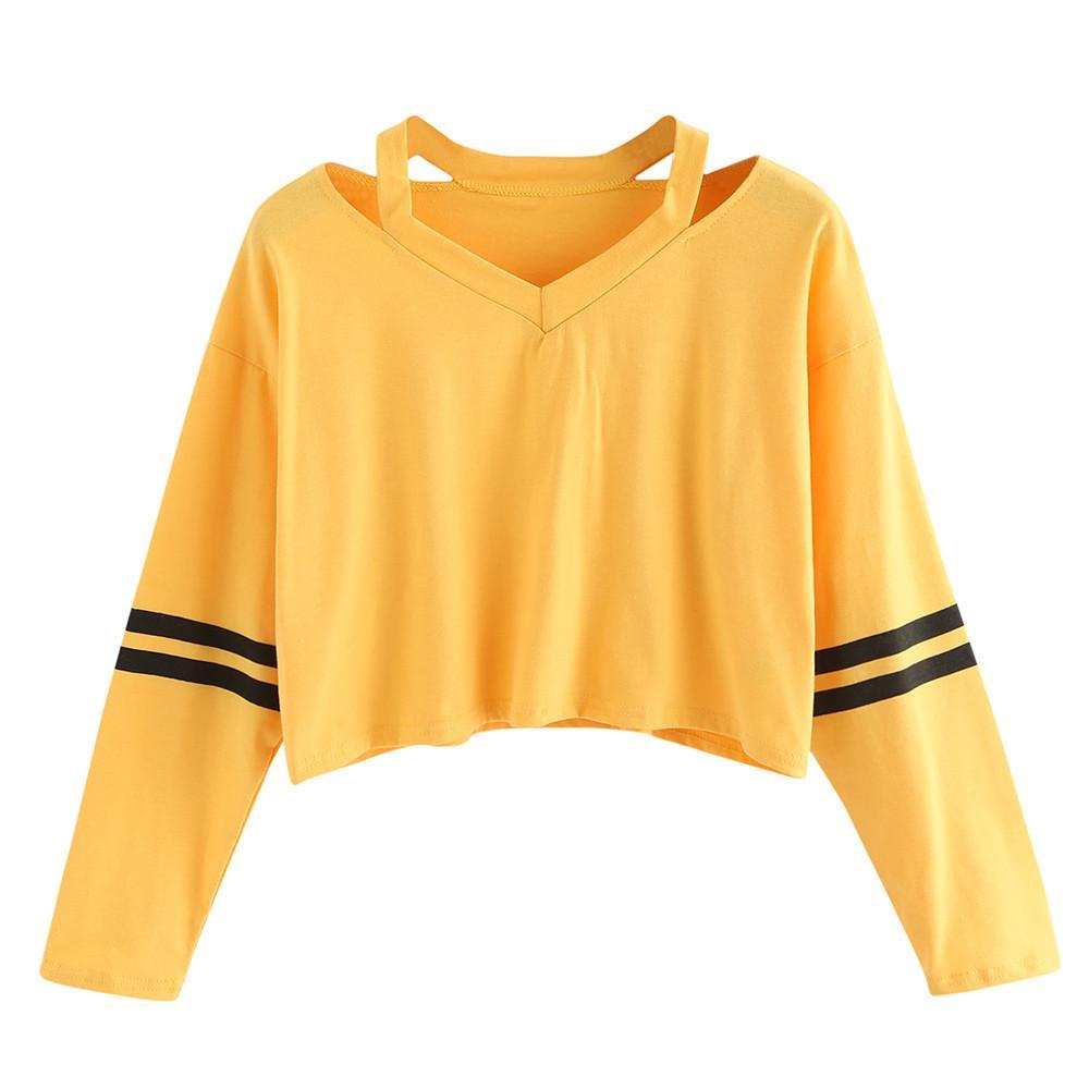 Camisolas das mulheres Hoodies Amarelo Listrado Quente Meninas Recortadas Outono Pullovers Sexy Curto Estilo Coreano Camisola Felpe Tumblr