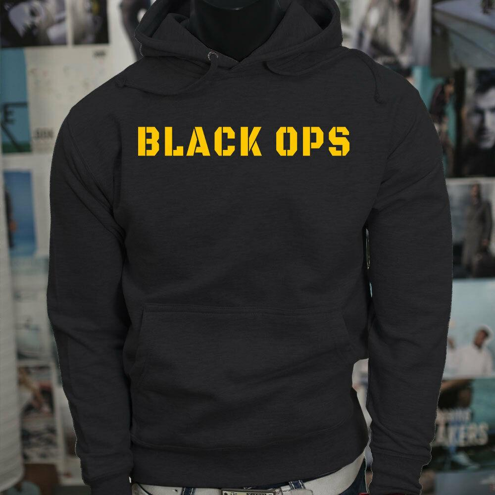 BLACK OPS YELLOW ARMY SPEZIALKRÄFTE USA Mens Black Hoodie