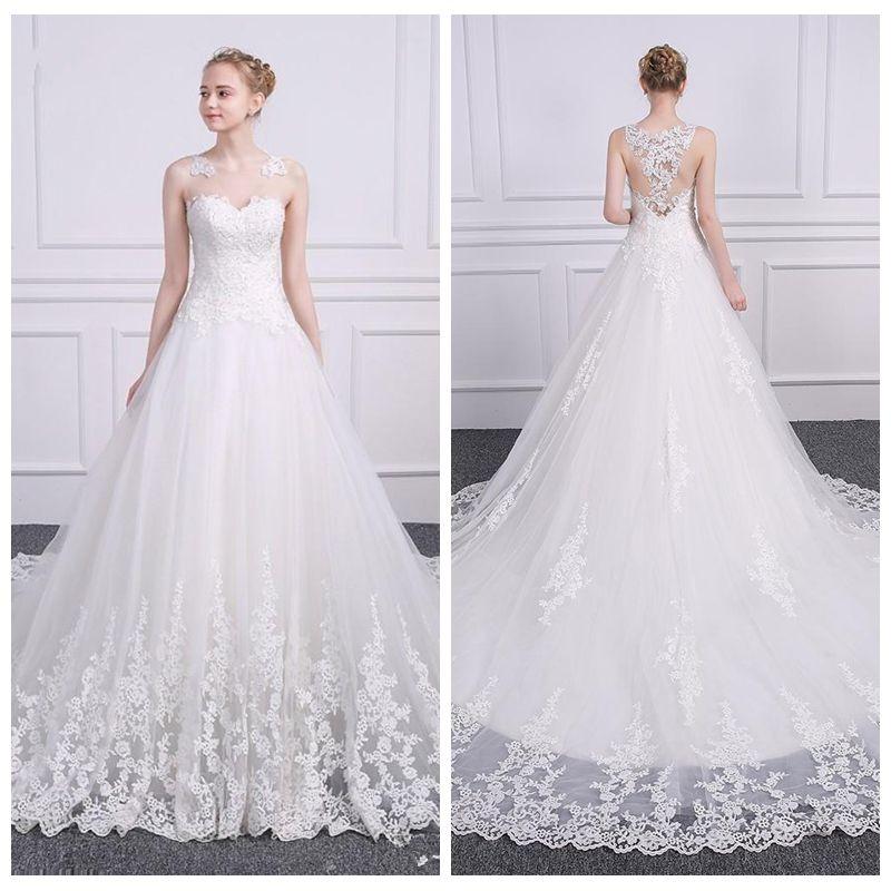 Sheer Lace Appliques A-Line Wedding Vestidos sem mangas 2021 vestidos de noiva feito sob encomenda feita longa vestidos de casamento barato formal