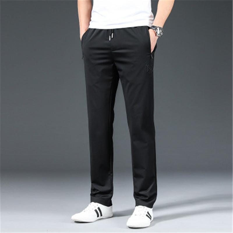 Erkekler İnce Elastik Bel Pantolon Moda İlkbahar Gevşek Pantolon Kore Boy Pantolon Günlük Spor Stretch Düz Pantolon Gençlik İnce