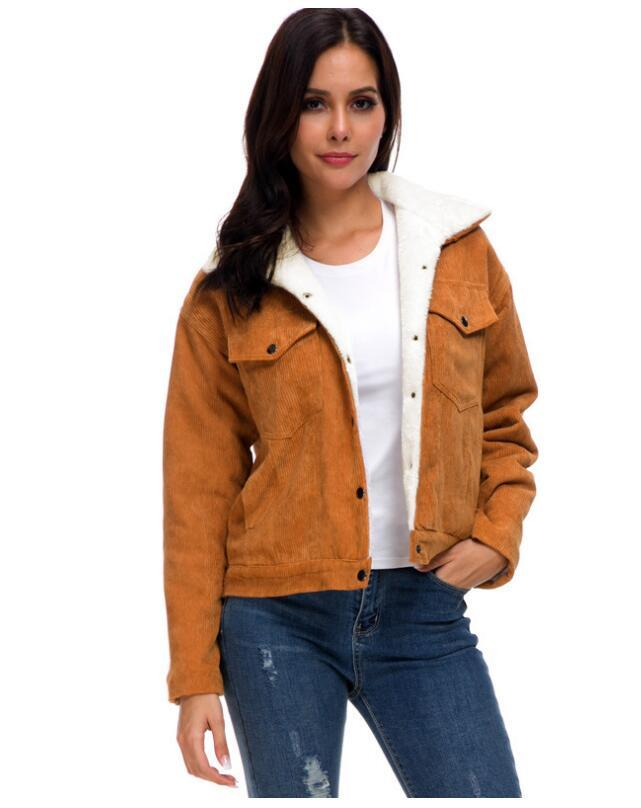 agnello velluto a coste delle donne nuovo autunno inverno del cachemire di spessore cappotto giacca a maniche lunghe monopetto cappotti in pile rivestimento della tuta sportiva