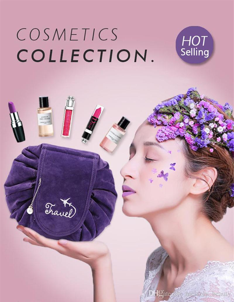 Maquillage coréen peluche de nouveaux voyages cosmétique sac sac de rangement cordon de train Qijjjk voyage rétrécir 2019 Cosmétiques Magic Lazy Vareh