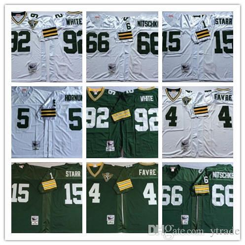 NCAA Vintage Top Reggie White Brett Favre Jersey Bart Starr Ray Nitschke Paul Hornung, James Jones, Verde Blanco cosido Retr
