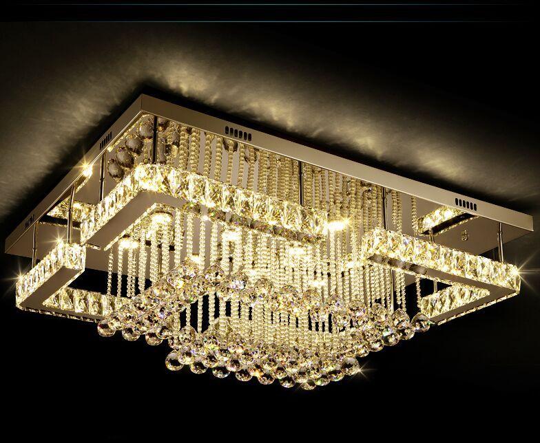 Новый Современная роскошь Pandant Свет Прямоугольный LED K9 Хрустальные люстры Потолочные Fixutres манежные Лампы Свет для гостиной MYY