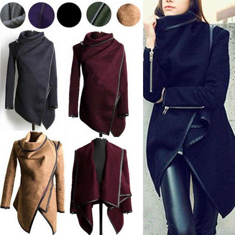 ZOGAA más el tamaño del resorte del otoño de las mujeres capa de la chaqueta larga Slim Fit cachemira Turtlneck abrigo informal rompe vientos para Ropa