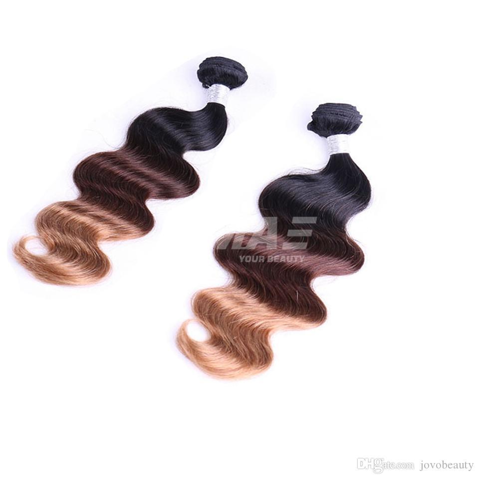 VMAE 3 lotes de la Virgen brasileña de la onda del cuerpo del pelo 3 Tone T1b 33 27 Ombre extensiones de cabello humano 100% la armadura del pelo de Venta de Fábrica
