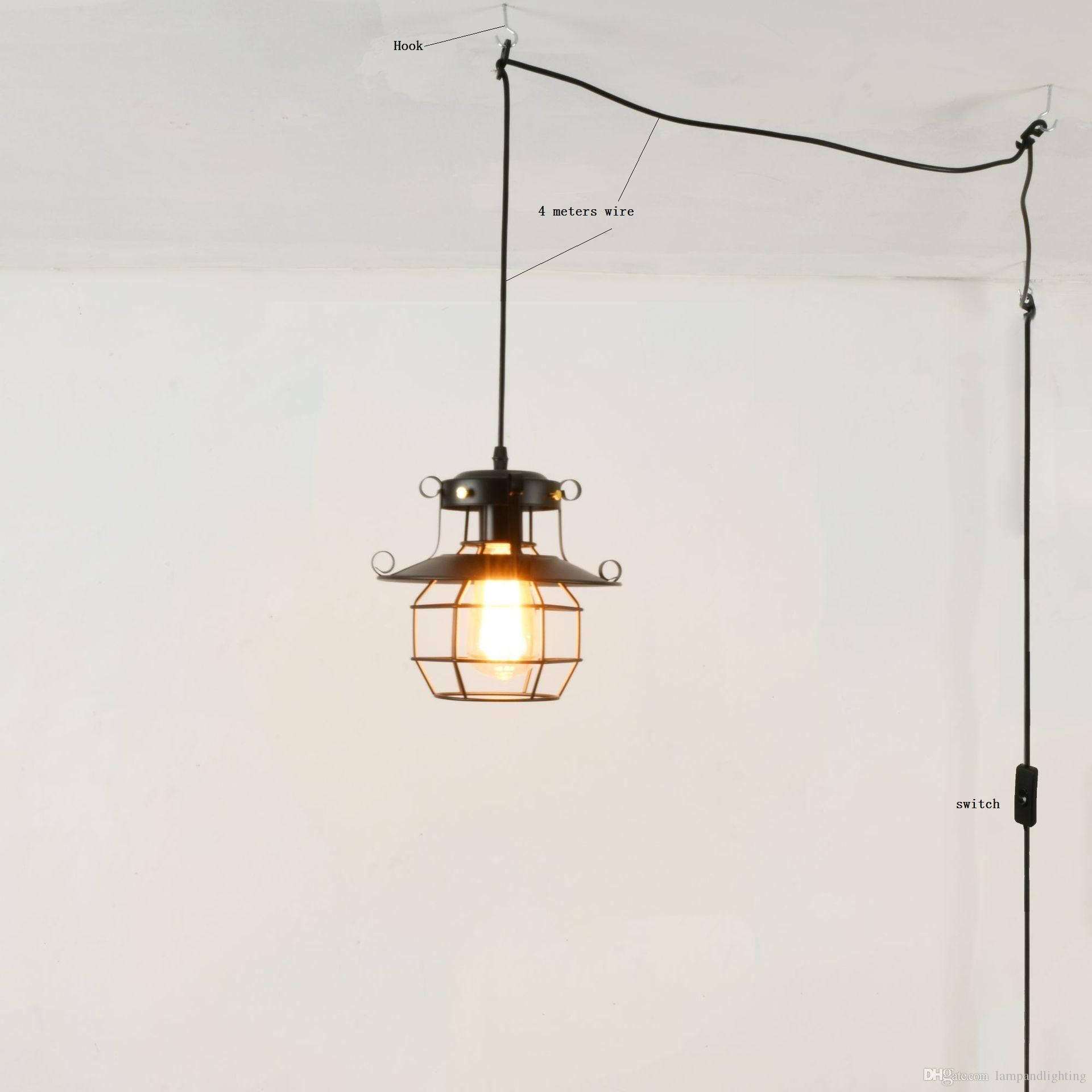 Retro Us Eu Standard 4 Meters Wire Single Pendant Light Fixture