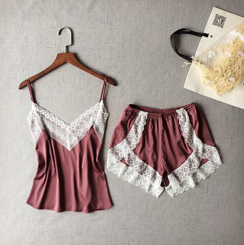delle donne indumenti da notte sexy raso Pajama Set White Lace V-Neck pigiama a maniche Carino Cami top e shorts