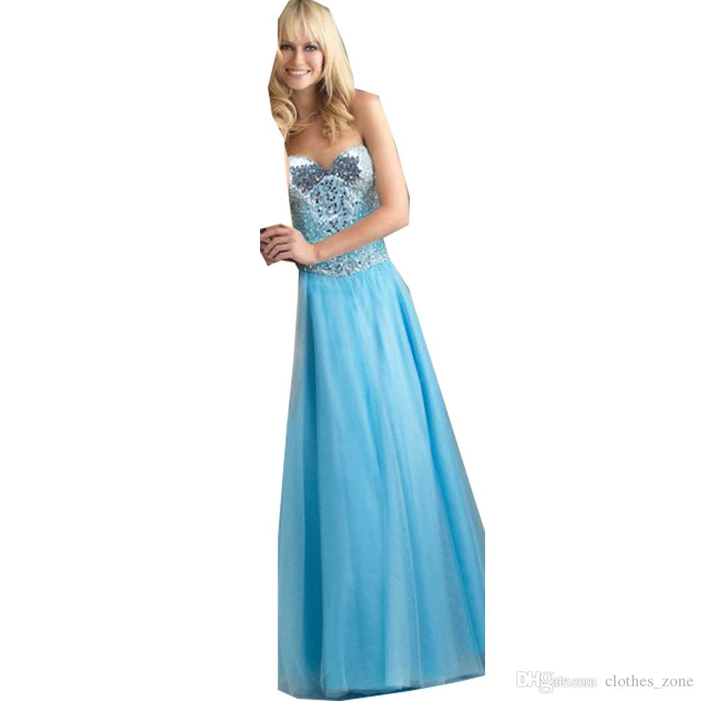 Cocktail Dress for Women Sky Blue Sexy Sequins Strapless Bandage Back Unique Prom Party Formal Evening Dresses 7152