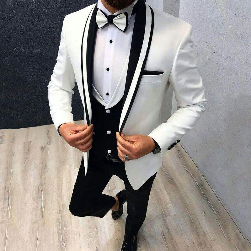 Düğün Smokin Damat Giyim Siyah Şal Yaka Groomsmen Kıyafet Adam Blazer 3piece Trajes de hombre Kostüm Homme için Özel Beyaz Suit