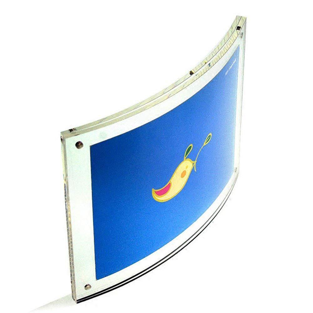 Yakri 8.5x11inch Curved Sign Holder, Affiche de document magnétique pour cadre photo acrylique, Diplôme, Certificat, Affichage du paysage, Clair
