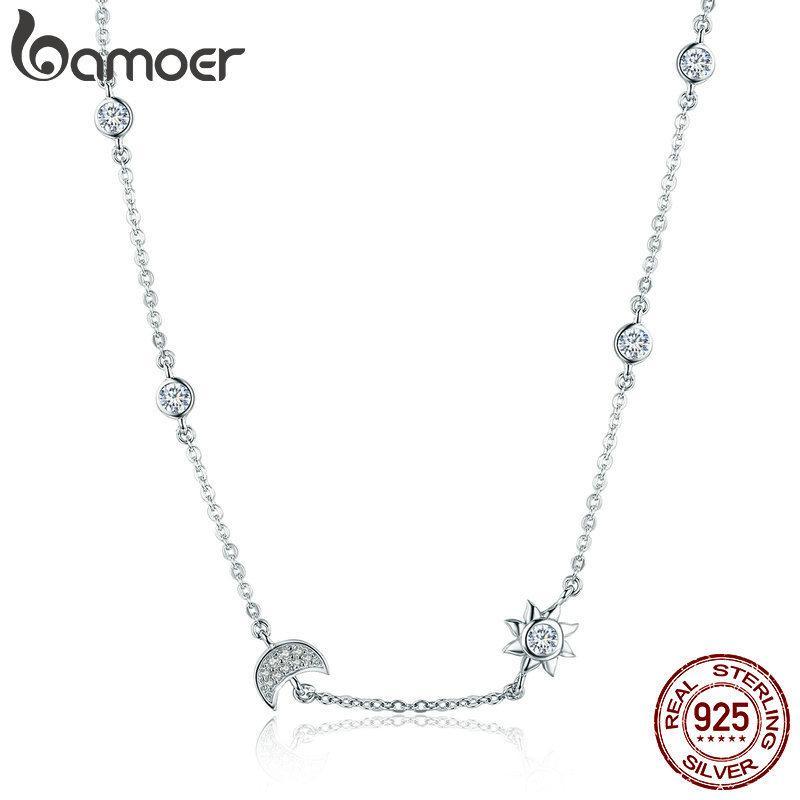 11.11 Продажи 925 Sterling Silver Moon игристые и звезды Изысканный кулон ожерелье для женщин 925 серебряные ювелирные изделия подарка SCN272 V191220