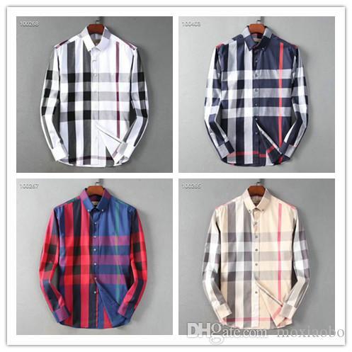2019 bize iş marka ince kontrol gömlek, moda tasarımcısı marka uzun kollu pamuklu rahat gömlek şerit kooperatif gömlek ölçüsü m-4XL # 56