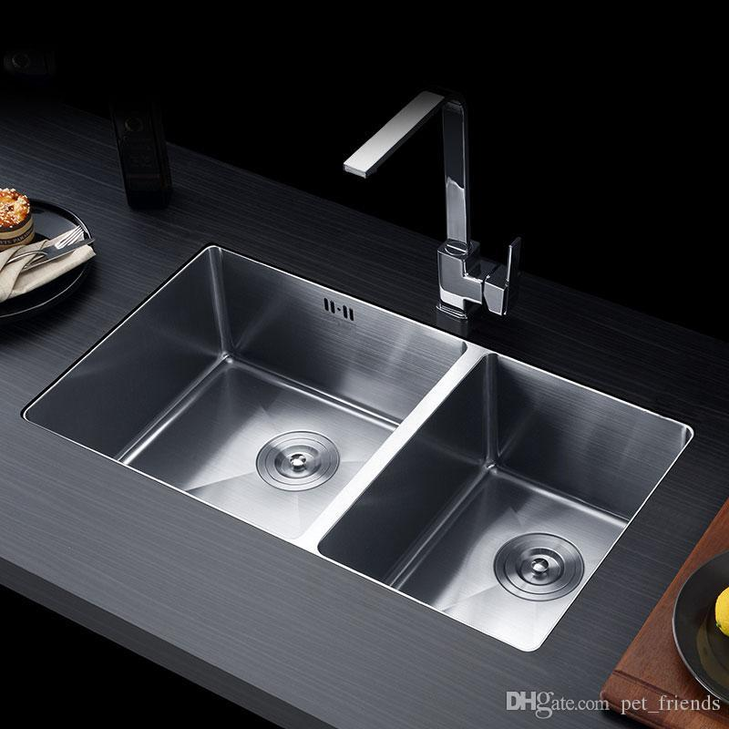 2020 Handmade Kitchen Sink Stainless Steel Brushed Double Bowl Wire Drawing Process Seamless Welding Sinks 760x430mm From Yuemaitong2020 385 32 Dhgate Com
