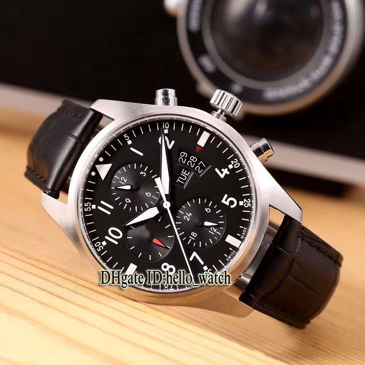 Cheap New Pilot's Montre d'Aviateur IW371701 quadrante nero automatico Mens Watch Date 43mm cinturino in pelle uomo Sport Gents Orologi hello_watch