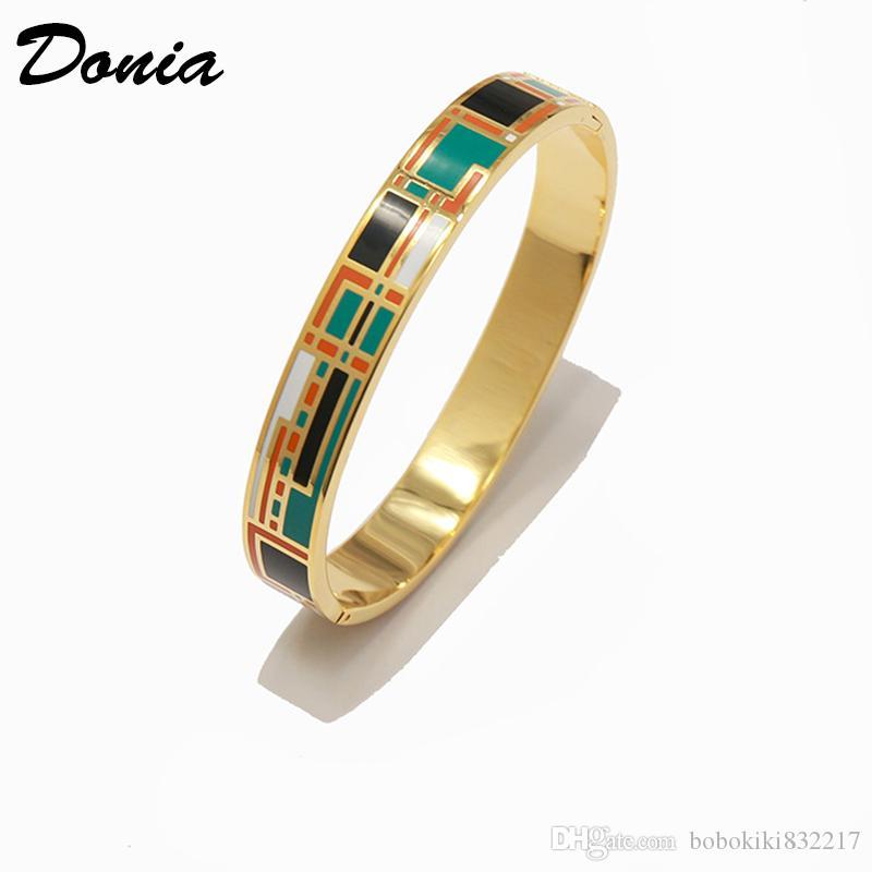 Jewelry Dona Amore domestico colorato smalto oro placcatura esagerato in acciaio in titanio europeo e americano popolare braccialetto di apertura regolabile BI