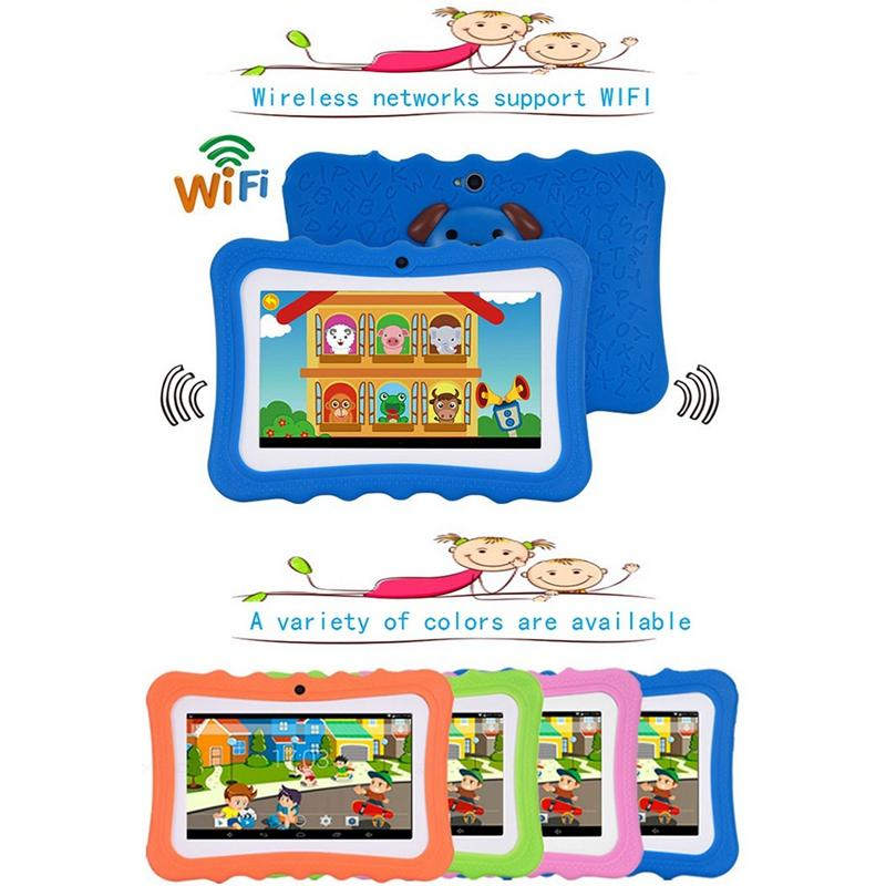 7 Inch Kids Tablet 512MB + 8GB Android Dual Camera WiFi Education Game Gift 1024 x 600 screen leaning machine for Boys Girls