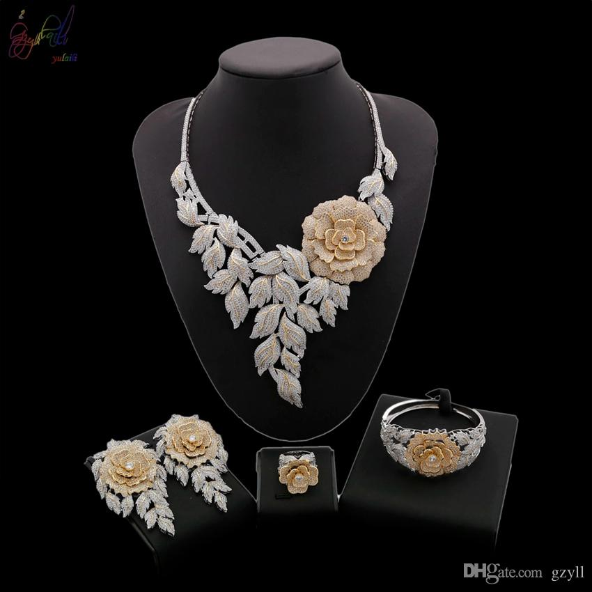 Yulaili High Quality Gold Silver Mixed Flower leaves American Natural Heart & Arrow Cubic Zirconia Women Wedding Jewelry Sets Free Shipping