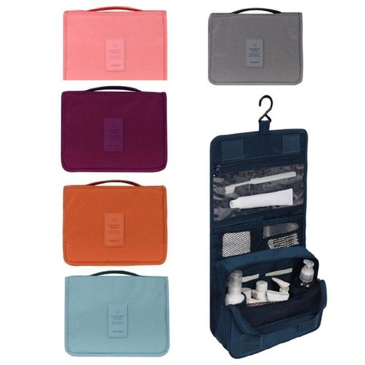 6color nuevo Pure Color plegable del recorrido del almacenaje del bolso colgante de bolso de la colada portátil Acabado bolso cosmético Inicio StorageT2D5067 viajes