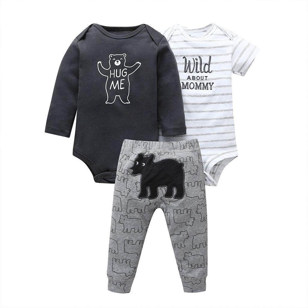 Newborn Baby Boys Cartoon Tops Striped Print Pant Halloween Clothes Set Black US