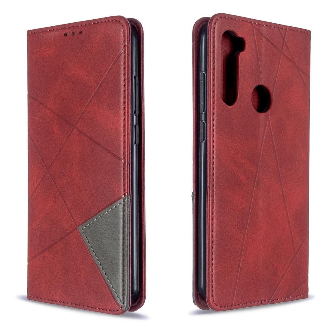 Per Xiaomi Redmi Nota 8 T Rombo Texture orizzontale di Vibrazione Magnetica Custodia In Pelle Con Slot Per Schede di supporto