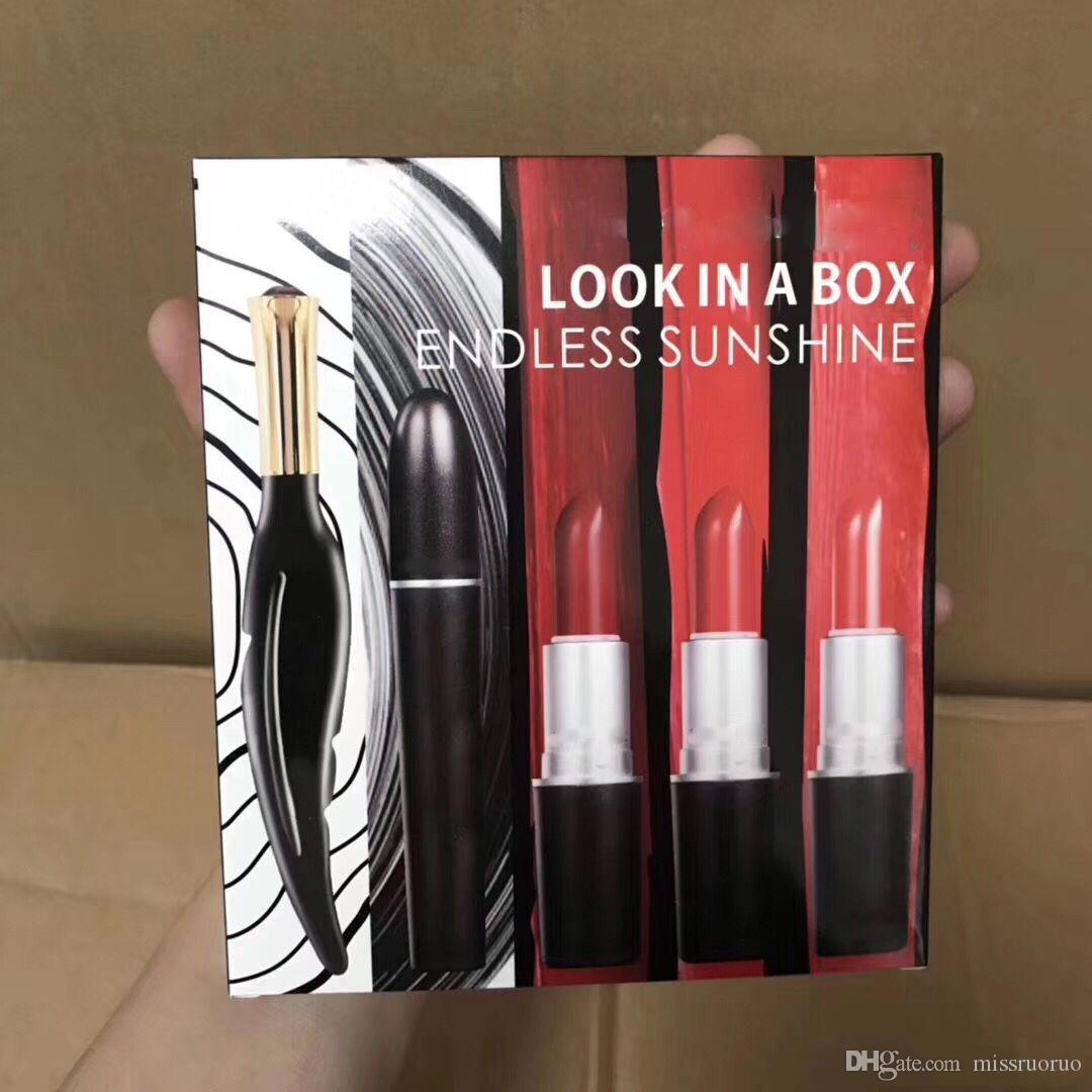 Yeni Makyaj Seti Bir Kutuya Bakmak Sonsuz Sunshine Eyeliner Maskara Mat Ruj 5 in1 Takımları
