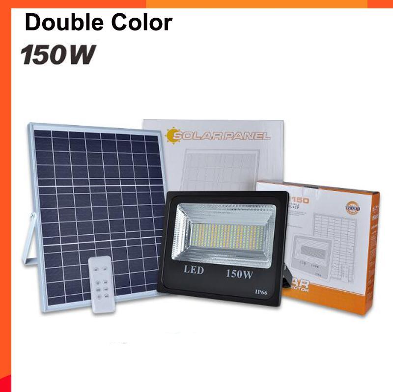 3 ADET 150 W Güneş Sel Işık Çift ColorSolar Güç LED Sel Işık Bahçe Yolu Sokak Spot Su Geçirmez Lamba Uzaktan Kumanda