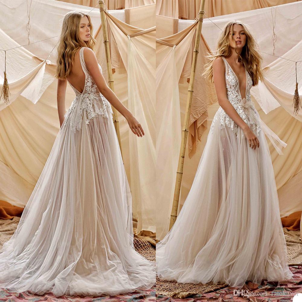 2021 Berta Wedding Dresses A Line Deep V Neck Lace Appliqued Backless Bohemian Wedding Dress Custom Made Boho Bridal Gowns Sexy