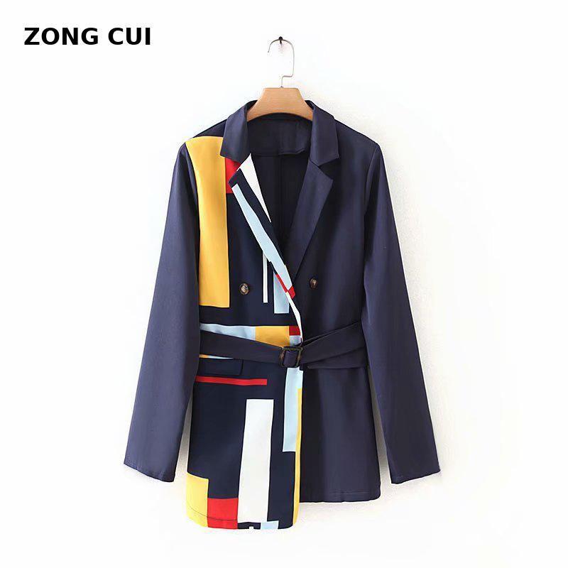 korean style women fashion stripe patchwork blazer pocket elegant office lady work blazer suit Black Ladies Office