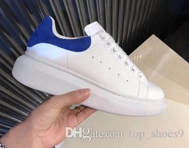 Presentes de Natal! 2018 Womens Moda de Nova Mens luxo casual sapatos brancos de couro Plataforma sapatos baixos sapatos casuais Senhora Preto Sneakers W8