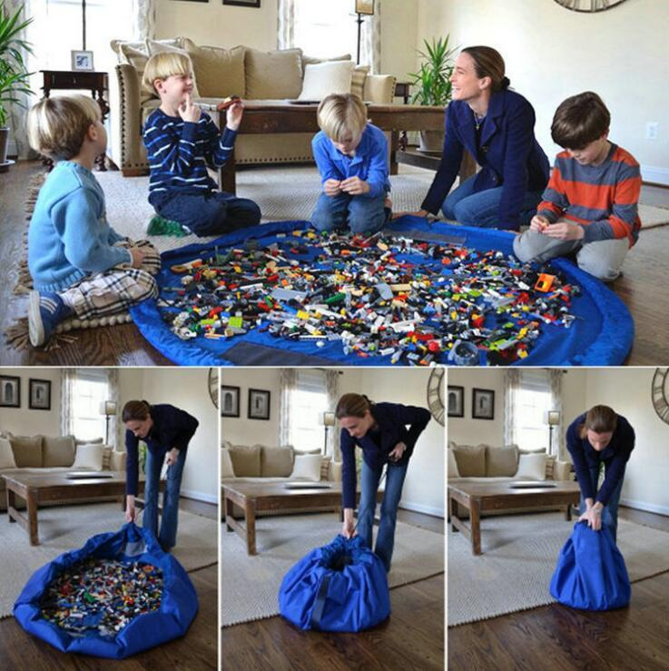 Kids Portable Toy Storage Bag Organiser 150cm Drawstring Bag Play Mat Rug