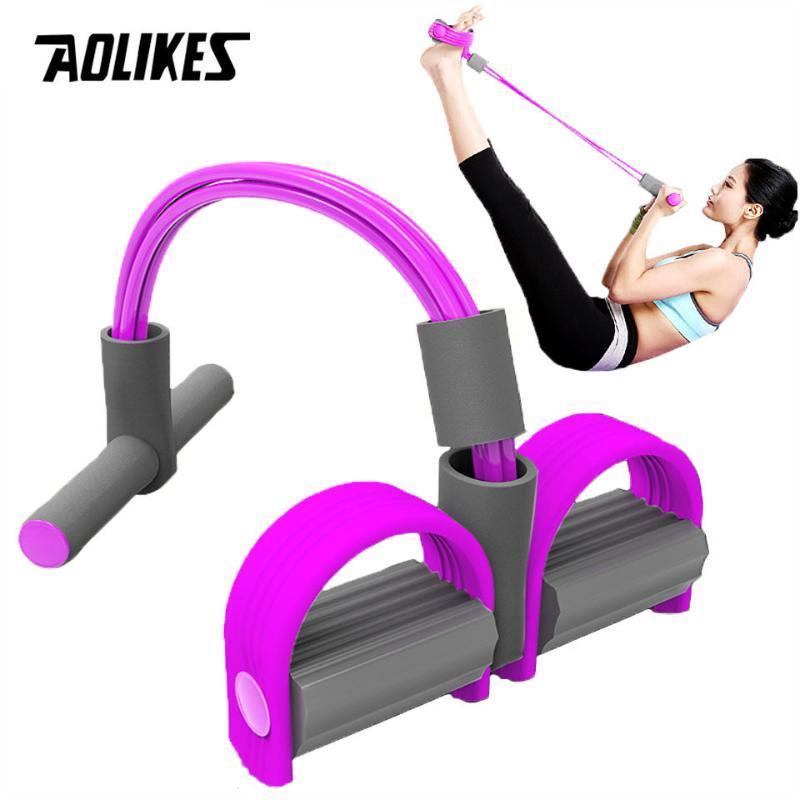 Fitness İçin AOLIKES 4 Direnç Elastik Çekme Halatlar Egzersiz Güç Göbek Direnç Band Ana Gym Spor Eğitimi Elastik Bantlar