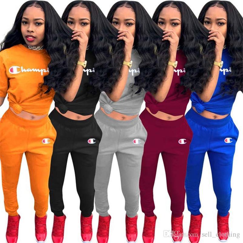 Plus size 3XL Mulheres 2 peças set agasalho camisa do verão T manga curta roupas + calças carta ocasional Sweatsuit ao ar livre aptidão atleta terno 236