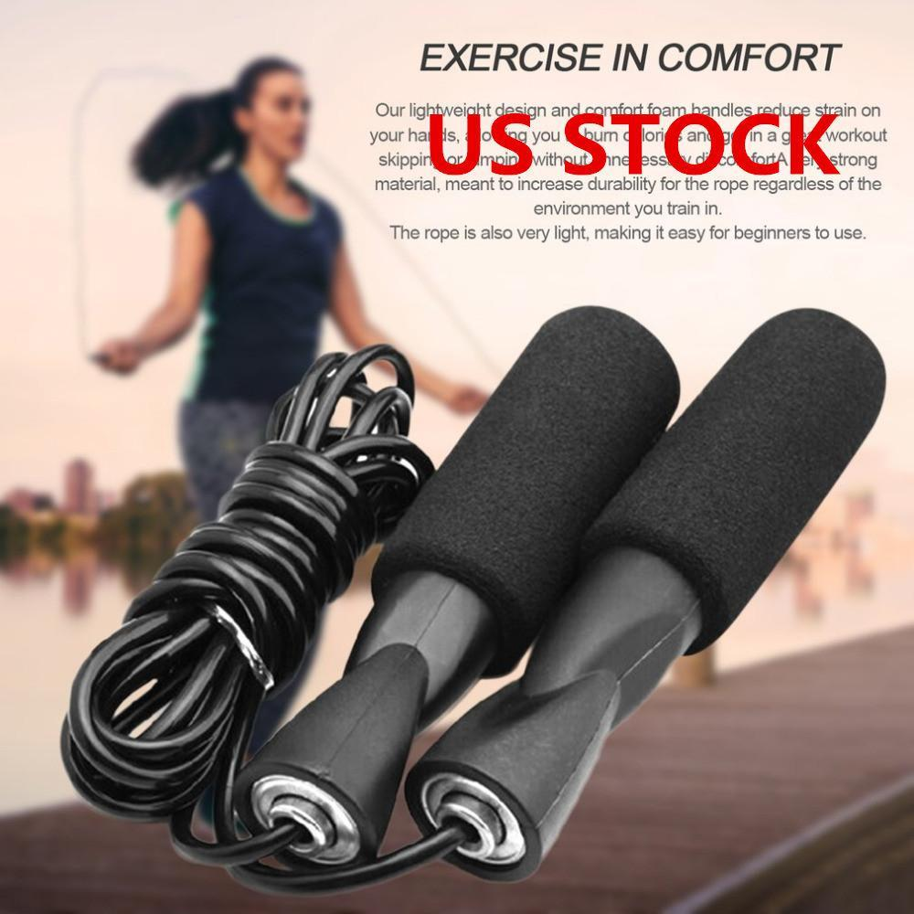 US Shipping DHL Shipping! Aerobic Exercise Boxing Skipping Jump Rope Adjustable Bearing Speed Fitness Black Unisex Women Men Jumprope FY6160